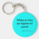 Vintage Emerson Happiness Quote Neon Blue Teal Basic Round Button Keychain
