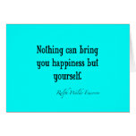 Vintage Emerson Happiness Quote Neon Blue Teal Greeting Cards
