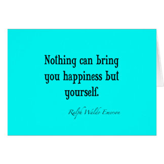 Vintage Emerson Happiness Quote Neon Blue Teal Card