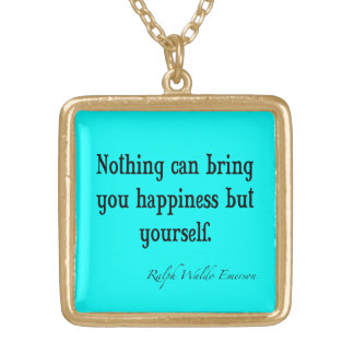 Vintage Emerson Happiness Quote Neon Blue Teal Gold Plated Necklace