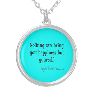 Vintage Emerson Happiness Quote Neon Blue Teal Round Pendant Necklace