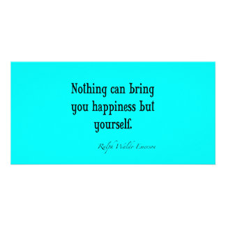 Vintage Emerson Happiness Quote Neon Blue Teal Photo Card