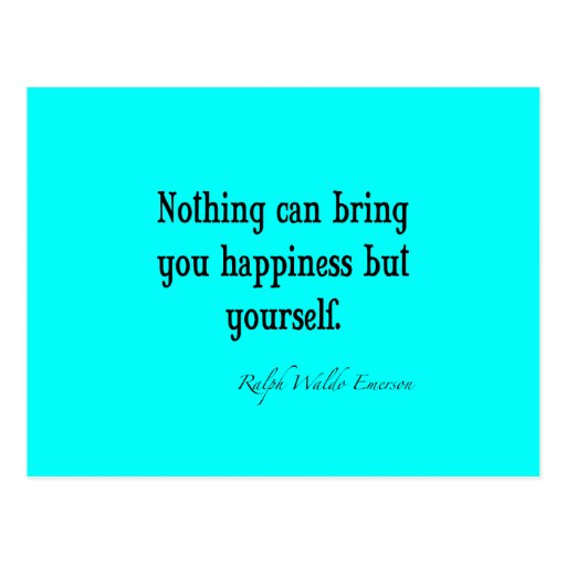 Vintage Emerson Happiness Quote Neon Blue Teal Postcard