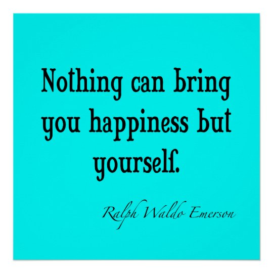 Vintage Emerson Happiness Quote Neon Blue Teal Poster