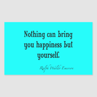Vintage Emerson Happiness Quote Neon Blue Teal Rectangular Sticker
