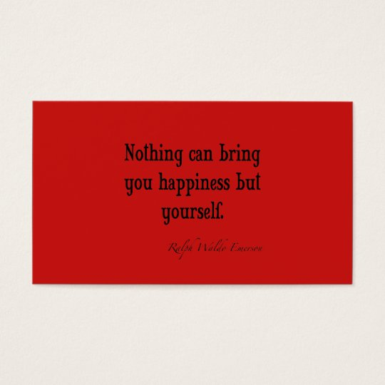 Vintage Emerson Happiness Quote Poppy Red Business Card