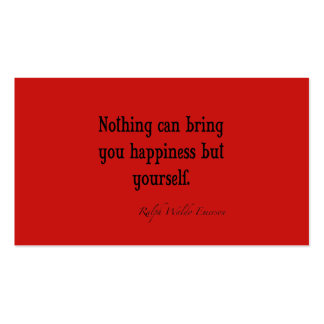 Vintage Emerson Happiness Quote Poppy Red Business Card Template