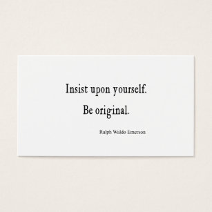 Inspirational quotes business cards templates zazzle vintage emerson inspirational be original quote business card reheart Gallery
