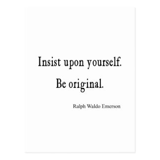 Vintage Emerson Inspirational Be Original Quote Postcard