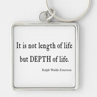 Vintage Emerson Inspirational Depth of Life Quote Silver-Colored Square Keychain