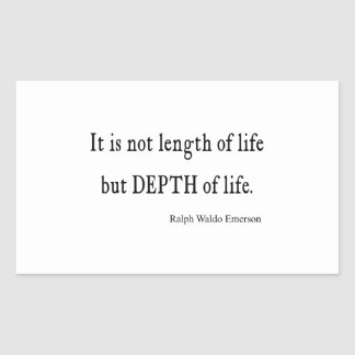 Vintage Emerson Inspirational Depth of Life Quote Rectangular Sticker