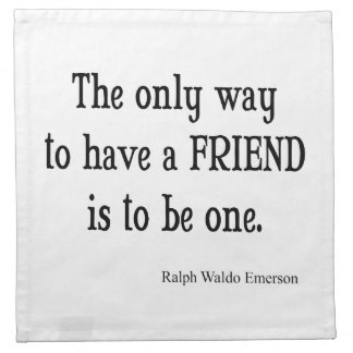 Vintage Emerson Inspirational Friendship Quote Cloth Napkin