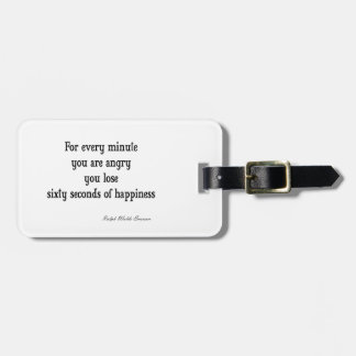 Vintage Emerson Inspirational Happiness Quote Travel Bag Tag