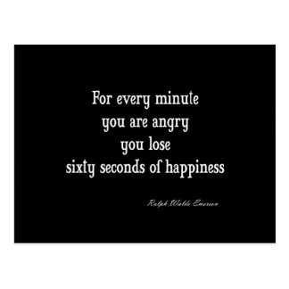 Vintage Emerson Inspirational Happiness Quote on Postcard