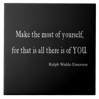 Vintage Emerson Inspirational Quote - Customizable Large Square Tile