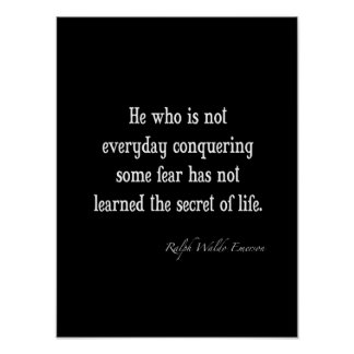 Vintage Emerson Inspirational Secret of Life Quote Poster