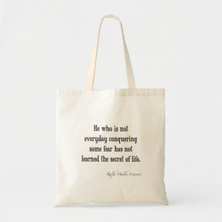 Vintage Emerson Inspirational Secret of Life Quote Tote Bag