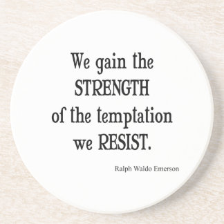 Vintage Emerson Inspirational Strength Quote Drink Coaster