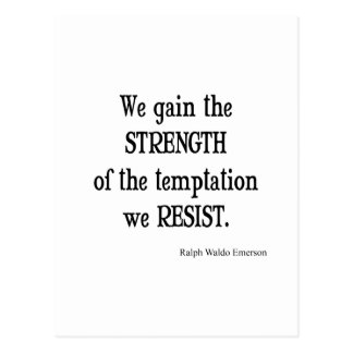 Vintage Emerson Inspirational Strength Quote Postcard