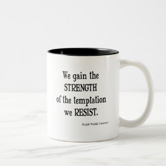 Vintage Emerson Inspirational Strength Quote Two-Tone Coffee Mug
