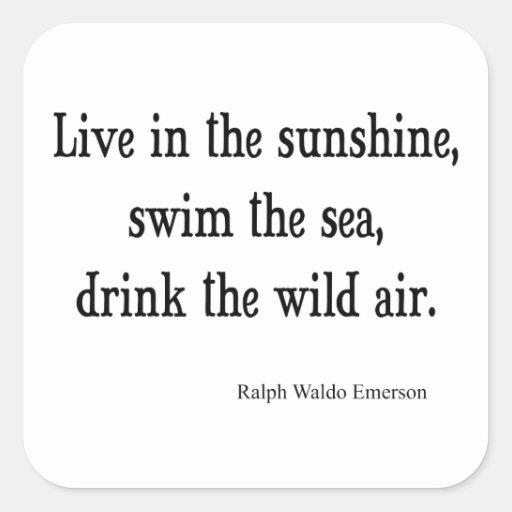 Vintage Emerson Live in Sunshine Quote Square Sticker