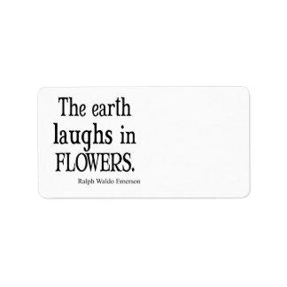Vintage Emerson que la tierra ríe en cita de las f Etiqueta De Dirección