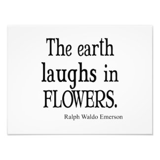 Vintage Emerson The Earth Laughs in Flowers Quote Photo Print
