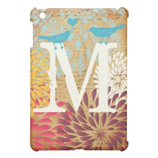 Vintage Emphera Modern Floral Monogam iPad Mini Case For The iPad Mini