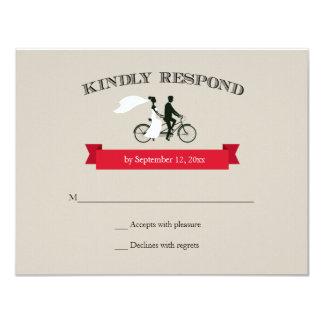 """Vintage en tándem de la bicicleta que casa RSVP Invitación 4.25"""" X 5.5"""""""