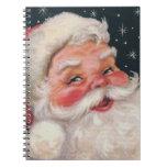 Vintage encantador Papá Noel Libro De Apuntes Con Espiral