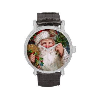 Vintage encantador Papá Noel Reloj
