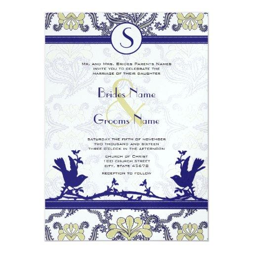 Vintage Endive Navy Iris Love Bird Wedding Invites