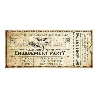 Vintage Engagement Party Ticket Invitation