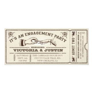 "Vintage Engagement Party Ticket Invitation III 4"" X 9.25"" Invitation Card"