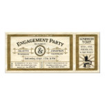 Vintage Engagement Party Ticket Invitations