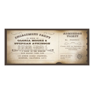 vintage engagement party ticket typography design card