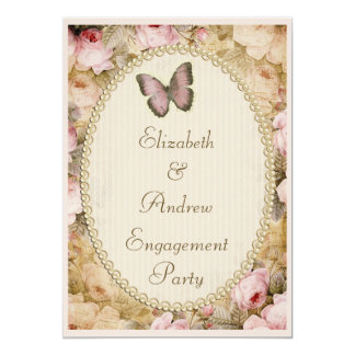 Vintage Engagement Roses Butterfly, Music Notes Card