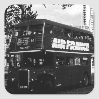 Vintage England London double decker bus 1970 Square Sticker