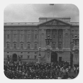 Vintage England London Old Guard Buckingham Palace Square Sticker