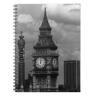 Vintage England London post office tower Big ben Spiral Notebook