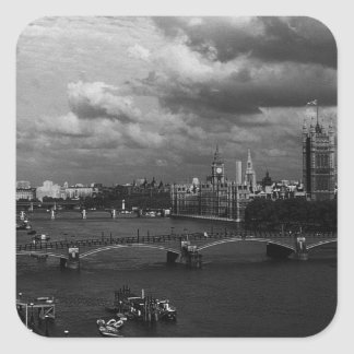 Vintage England London The River Thames 1970 Square Sticker