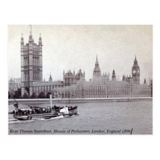 Vintage England, River Thames London Steamboat Postcard