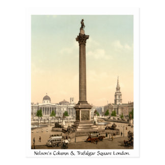 Vintage England, Trafalgar Square London Postcard