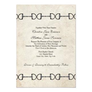 "Vintage English Bit Equestrian Wedding Invitations 5"" X 7"" Invitation Card"