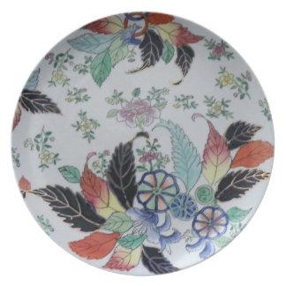 Vintage English China Unique Pattern Floral Design Melamine Plate