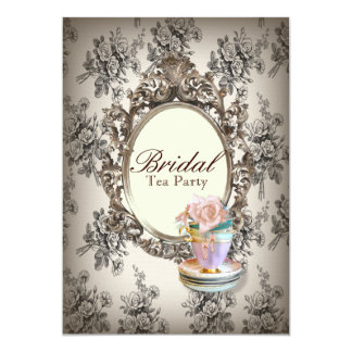vintage english country bridal shower tea party invitations