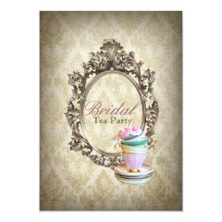 vintage english country damask  bridal tea party card