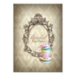 vintage english country damask  bridal tea party custom invites