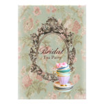 vintage english country floral  bridal tea party invitations