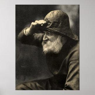 Vintage English Fisherman Nautical Antique Beard Poster